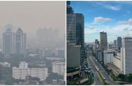 Foto-Foto Langit Jakarta Berwarna Cerah Pada Masa Pembatasan Sosial